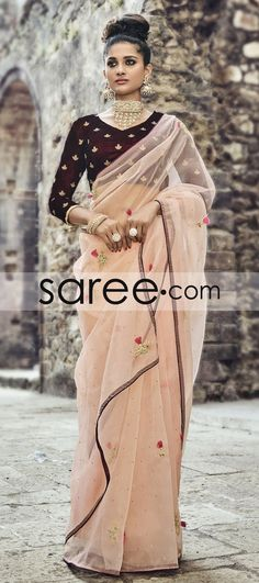 Baby Pink Tissue saree With Zari Embroidery Work
