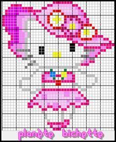 Hello Kitty with hat perler bead pattern