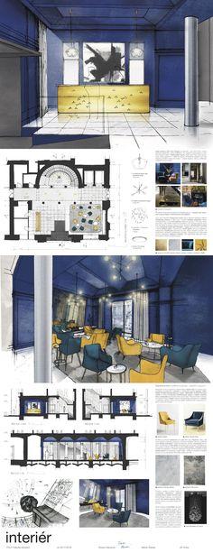 Práce studentů Architektury a stavitelství na Fakultě stavební ČVUT v Praze v rámci předmětu Interiér (2017/18). Floor Plans, Presentation Board Design