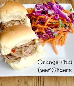 Orange Thai Beef Sliders ~ part of our 31 Days of Slow Cooker Meals series | 5DollarDinners.com