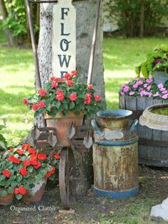 repurposed tools garden tiller planter