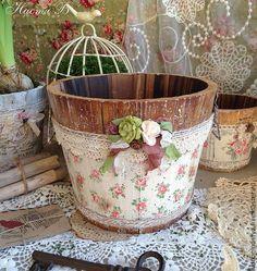 *decoupage scrapbooking paper on wooden buckets...sooooo pretty!