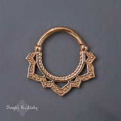 Solid Gold Septum Ring Tribal Septum Lotus Septum 18g 16g