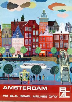 The Netherlands Amsterdam via Elal Israel Airlines Poster