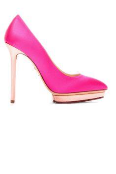 Charlotte Olympia Fuchsia Satin Heart Debonaire Court Heels, $795; ssense.com
