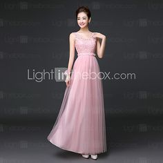 Ankle-length Lace / Satin / Tulle Bridesmaid Dress A-line Scoop with Lace - USD $39.99