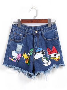 Ripped Fringe Cartoon Print Denim Shorts
