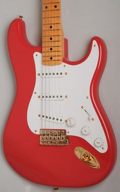 "Fender Custom Shop '56 Stratocaster NOS (Fiesta Red, AA Birdseye Maple).     Based on the Hank style strat. By far one of the most popular models. Usual '56 style spec but with a lovely NOS finish, AA neck and gold hardware. Its like buying a new one from 1956! Featuring a two-piece alder body, '56 'V' neck profile but with a 9.5"" radius & 6105 frets and '56 pickups. £2399 #fender #stratocaster #strat #hank #marvin #hankmarvin #shadows #1950s #vintage"