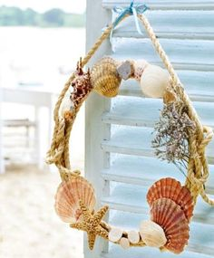 Beautiful Nautical Rope Wreath Ideas: http://www.completely-coastal.com/2016/06/nautical-rope-wreaths.html Using different base wreaths, such as straw wreaths, floral craft rings and wire rings.