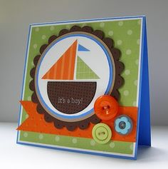 Stampin Up! Demonstrator - Kari Linder - Stampin Essentials blog, Stampin Up! It's a Boy! baby card with sailboat