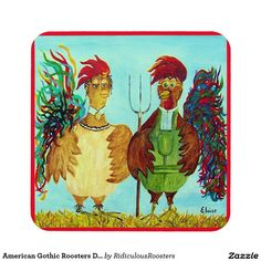 American Gothic Roosters Down on the Farm Coaster