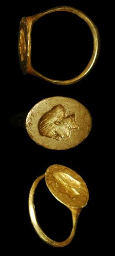 Greek - Gold Finger Ring - Incuse Female Head, 3rd-2nd century B.C.
