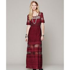 Free People Burgundy Buttondown Maxi Dress S| M. NWOT! (Still has button attached). Burgundy mixed crochet maxi dress with scalloped edges & detailed buttons down the back. Free People Dresses Maxi