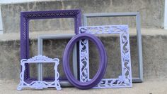 Purple+and+Gray+Ornate+Picture+Frame+Set+by+melissap6908+on+Etsy,+$50.00