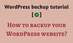 If you want to backup your WordPress website for any reason (before installing anything new), here are the few easy ways to do it. Video inside.