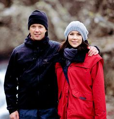 """""""Crown Prince Frederik and Crown Princess Mary pose for photographers during a walk through Almannagja Gorge at Thingvellir during a four day official visit to Iceland on May 8th, 2008."""""""