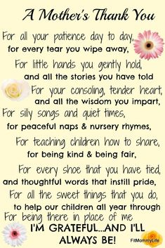 A Mother's Thank You - this makes a great gift for a babysitter or nanny! Mothers Day Quotes, Mothers Day Crafts, Mother Day Gifts, Nanny Quotes, Daycare Teacher Gifts, Teacher Thank You Gifts, Thank You Poems, Teacher Poems, Babysitter Gifts