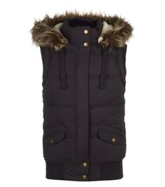 Navy Hudson and Rose Faux Fur Trim Hooded Gilet