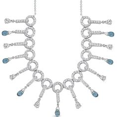London Blue Topaz Briolette Necklace Sterling Silver Rhodium Nickel Finish 500 Carats -- You can find out more details at the link of the image.