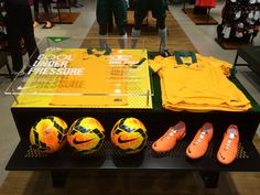 Nike Football - Socceroos - Cool Under Pressure Home Kit retail table display sports in-store apparel display.