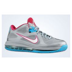 100% authentic 36a3c 4ae2d Nike LeBron 9 Low  Silver Blue-Pink    SneakerFiles ❤ liked on Polyvore