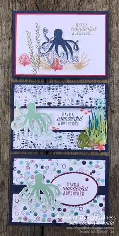 Seeds of Thoughtfulness with Lorin Goodchild Stampin' Up! Annual Catalogue: Sea of Textures Scrapbooking, Scrapbook Cards, Octopus Card, Sea Texture, Nautical Cards, Birthday Cards For Boys, Beach Cards, Diy Papier, Stampin Up Catalog
