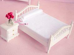 1:12 Dollhouse Miniature Wood Pure white Bedroom Bed Sidestand #Minidreamworld