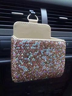 TISHAA Bling Bling Car Air Vent Mobile Cellphone Pocket Bag Pouch Box Storage Organizer Carrying Case (Gold Full)