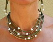 Freshwater Pearls and Leather Green Multi Strand Necklace