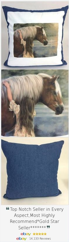 """Know a girl who cant stay away from her beloved #horse? This custom designed handmade pillow celebrates her """"First Love"""" forever."""