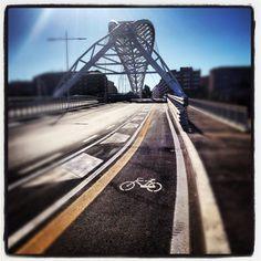 Calatrava-look-a-like bridge. With bike lane. (Since March 2012)