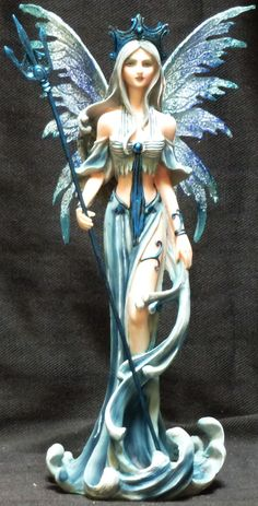 Water Fairy with Trident Statue Figurine H10"