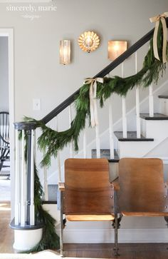 Christmas Foyer & Family Room + A Giveaway - Sincerely, Marie Designs Christmas Kitchen, Christmas Home, Christmas Ideas, Natural Christmas, Christmas Stairs, Merry Christmas, Simple Christmas, White Christmas, Xmas
