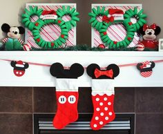 Mickey & Minnie Christmas DIY Decorations - DolledUpDesign. Make the wreaths out of cut up pool noodles and ribbon?