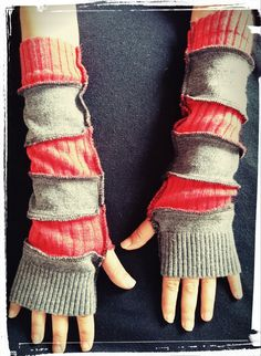 Red and Grey upcycled arm warmers by ConfusedRainbow on Etsy