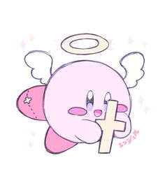 Aw, how sweet! Like the cross you're holding, Kirby!