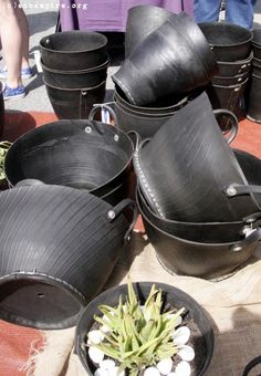 recycled tyre garden pots