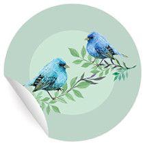 24 wunderschöne Aufkleber mit Vögelchen auf türkis grün, MATTE Papieraufkleber (ø 45mm; 4 x 6 Motive)