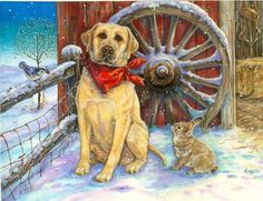 Western Christmas Dog and Hare by Donna Race
