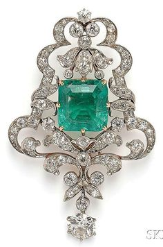 Edwardian Emerald and Diamond Pendant/Brooch, set with a square emerald-cut Skinner Auctions