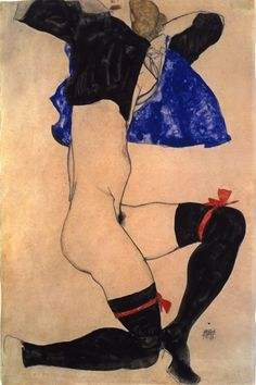 Egon Schiele, Semi Nude in Black Stockings and Blue Jacket