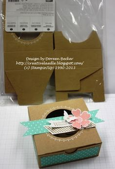 Stampin' Up! Creative Gift Wrapping, Creative Gifts, Scrapbook Box, Scrapbooking, Diy Paper, Paper Crafts, Stampin Up Anleitung, Craft Packaging, Basket Crafts