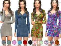 The Sims Resource: Ribbed Thermal Dress by ekinege • Sims 4 Downloads