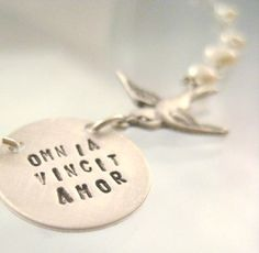 Love Necklace  Love Conquers All in Latin by onelifejewelry, $90.00