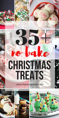 35 Easy Christmas Treats — all no bake! Including cookies bars candies and dess… 35 Easy Christmas Treats — all no bake! Including cookies bars candies and desserts — because sometimes you just don't have time to bake! Easy recipes for everyone. Christmas Desserts Easy, Christmas Snacks, Christmas Cooking, Christmas Goodies, Simple Christmas, Holiday Treats, Christmas Parties, No Bake Christmas Cookies, Christmas Christmas