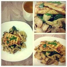 """Tofu grelhado com cogumelos e espinafres...  Amanhã """"back to work""""!!"""