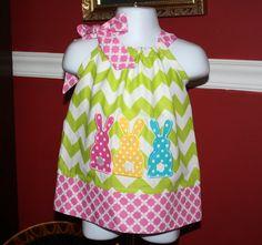 Easter Pillowcase Dress applique bunny rabbit by BlakeandBailey