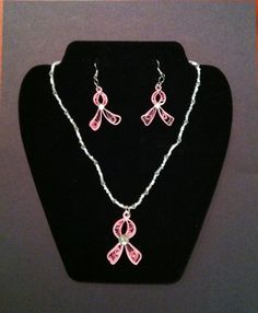 Paper quilled jewelry breast cancer by ThreeSistersCreate on Etsy, $28.75