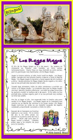 Dia de Reyes:  This is a Bilingual Reading on the Hispanic celebration of The Three Kings.  It includes 16 NO PREP Printables for your Spanish language class.