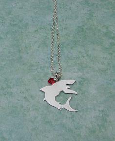 Shark Necklace Hand Cut Pendant With Red